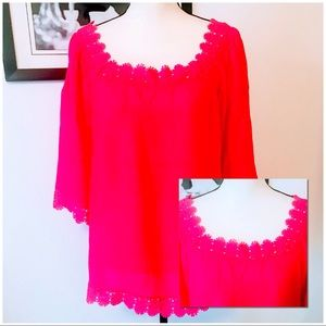NWT! PINK SPICE NEW DIRECTIONS CROCHETED TRIM TOP